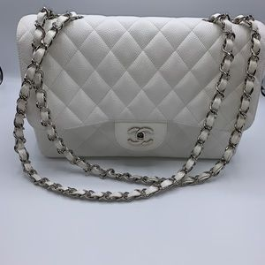 Chanel Caviar White Jumbo